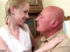 Teenage girl kissing grandpa in sexy scene tubes