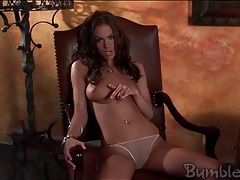 Addison rose strips to her thong and poses erotically tubes