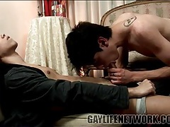 Kissing his boyfriend and sucking his dick tubes