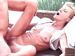 Skinny mature blows him and fucks missionary style tubes