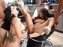 Group of girls suck hard dick in salon tubes