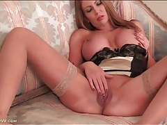 Satin lingerie and stockings on leigh darby tubes