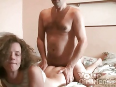 Cutie with curly hair sucks him hard tubes