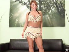 Lovely ava devine strips from cute costume tubes