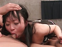 Face fucked asian takes loads on her tongue tubes