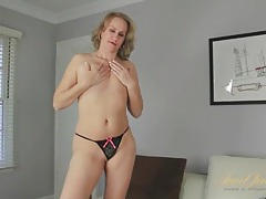 Curvy milf striptease with finger fucking tubes