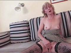 Sexy fishnets on masturbating mature blonde tubes
