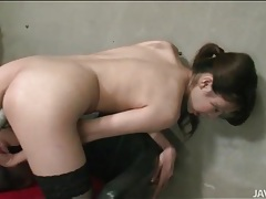 Small breasts japanese girl fucks gooey pussy tubes