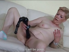 Hairy granny pussy pleasured by big toy tubes