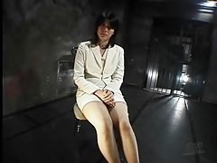 Secretary in the dungeon talks and is tied up tubes