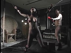 Japanese submissive whipped hard in bondage tubes