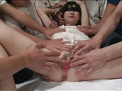 Blindfolded japanese girl fondled and fingered tubes