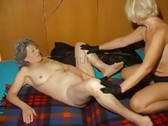 Kinky grannies strip to lingerie and fool around tubes