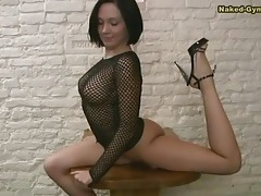 Chick in fishnet top is wicked flexible tubes