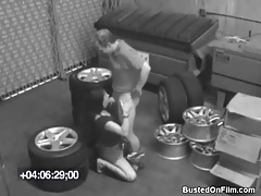 Couple fucks on pile of tires tubes