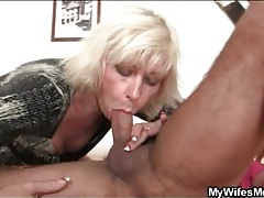 Blonde mom in law sucks and sits on him tubes