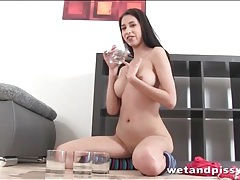 Girl loves to play with her piss and tease tubes