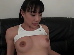 Perky boobs japanese girl sucks dildo tubes