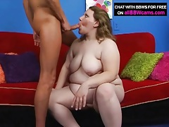 Naked bbw cocksucker pleasures his shaft tubes