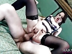 Erotic lingerie tease leads to big cock anal tubes