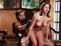 Big breasts honey sits cunt on his hard shaft tubes