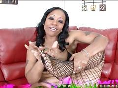 Black girl rubs honey into her fishnets feet tubes