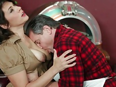 Waitress raylene blows the chef at restaurant tubes