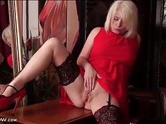 Stockings and sexy red dress on blonde milf tubes
