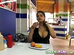 Latina with big tits eats a meal out tubes