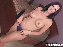 Pierced nipples girl fucks a huge dildo tubes