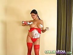 Curvy chloe veria sprays whipped cream on her tits tubes
