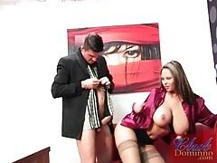 Secretary in satin blouse sucks big cock lustily tubes