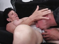 Young guy feverishly eats out her mature pussy tubes
