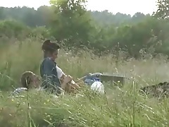 Camping couple has hardcore sex in a field tubes