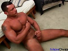 Fit solo guy strokes his dick slowly tubes