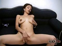 Skinny slut sucks black cock from her knees tubes