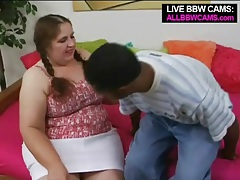Bbw in braided pigtails blows a black guy tubes