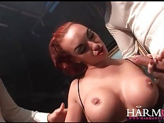 Men in top hats spit roast a slutty redhead tubes