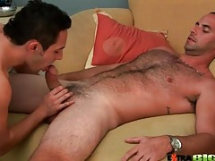 Bear with a big cock gets a hot gay blowjob tubes
