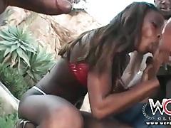 Black slut in bikini gangbanged by bbc outdoors tubes