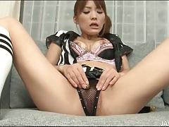 Japanese uniform girl masturbates her pussy tubes