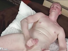 Smooth chest and balls on sexy stroking guy tubes