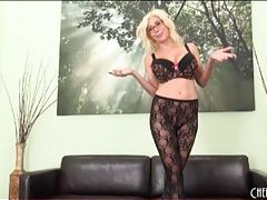 Blonde puma swede models sexy pantyhose tubes