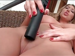 Big titty babe fucks vacuum into her bald pussy tubes