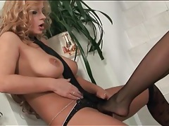 Sandra shine fingers and licks lesbian pussy tubes