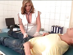Busty nurse gives his hard cock pleasure tubes
