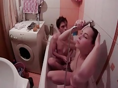 Couple fucks and baths in voyeur video tubes