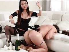 Mistress spanks and toys her sub lesbian tubes
