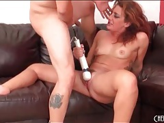 Curvy redhead takes a pounding in her pussy tubes