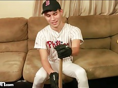 Boy in cute baseball uniform strips naked tubes